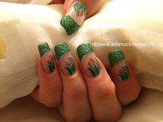 Nail art motivo 182 - Decoración de uñas en verde-glitter - http://www.schmucknaegel.de/
