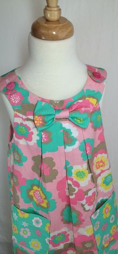 Girls sweet dress whit front pockets by SewCuteMami on Etsy
