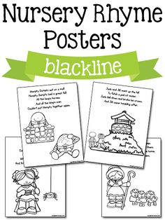 Nursery Rhyme Posters in blackline: Free printables