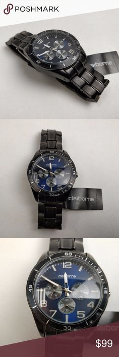 Claiborne CLM1006 Men's Black Multifunction Watch Never been worn, almost excellent condition. May only have minor shelf wear on strap. Comes without box and accessories.  Dress to impress with a Claiborne men's watch that features striking style and classic dependability. Its rich black dial is easy-to-read with silver-tone markers, and three sub-dials lend a multifunction practicality.  Dial Color: Black Strap: Black Metal Movement: Quartz (Japan) Water Resistance: 30 m Case…