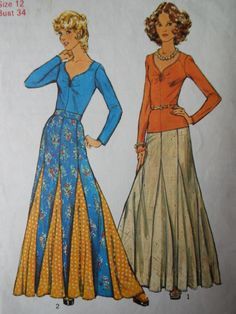 Vintage 1970s Simplicity Boho Gored Flared Skirt Top Sewing Pattern B 34