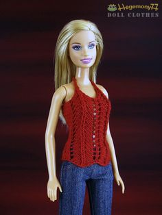 Barbie doll size hand knitted red top by Hegemony77com on Etsy