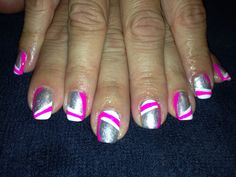 Neon pink silver white nails nail art polish shellac gel gelish