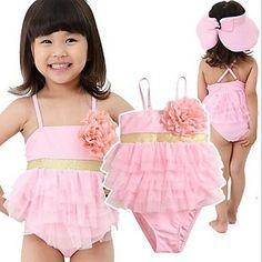 Romper Style Girl Triangle Pink Swimwear 2012 New Arrival Fashion Flower Cake Layers Beach Clothing Rylans bday Baby Swimwear, Baby Bikini, Baby Swimsuit, Kids Bathing Suits, Bathing Suit Dress, Baby Girl Fashion, Kids Fashion, Cheap Girls Clothes, Kids Tutu
