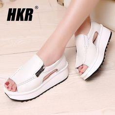 43f3d7d3b886 HKR 2017 women sandals summer wedges sandals gladiator sandals round toe  zipper platform sandals female shoes flip flops 8332