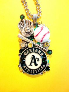 Oakland A's Dog Tag Pendant Number 1050 by BradosBling on Etsy, $39.99