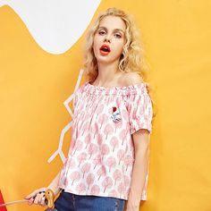 cotton floral print one shoulder shirt