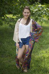 """Boho-Chic"" Kimono jacket in Cheerful Paisleys pattern"