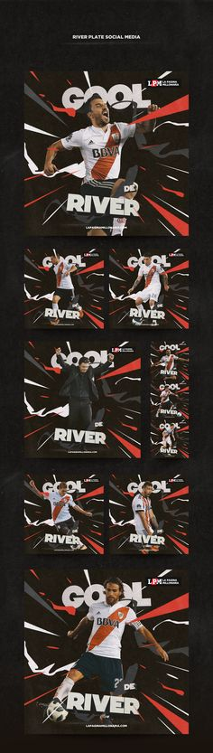 Serie of images for River Plate social media.