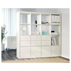 KALLAX Shelf unit - white - IKEA - You can use the furniture as a room divider because it looks good from every angle Etagere Cube Ikea, Etagere Kallax Ikea, Ikea Kallax Shelf Unit, Ikea Shelves, Ikea Storage, Cube Storage, Storage Shelves, Glass Shelves, Shelving Units