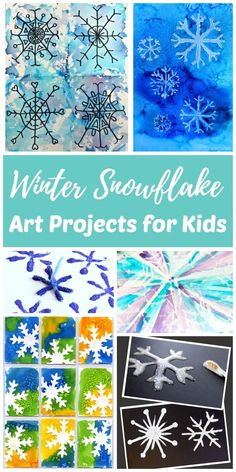 Artists of all ages will be able to find an easy winter snowflake art project in this collection. Painting, drawing, and stamping winter snowflake art is a fun way for kids to get creative on snowy or rainy winter days and connect with nature during the colder winter months.