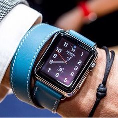 Hermes Double Tour Apple watch with Blue Jean band...