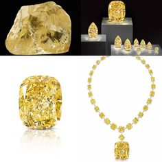 Before... After - 'THE YELLOW DIAMOND'. Found deep within the Letšeng Mine in Lesotho by Gem Diamonds company, the African gem was 299 cts in the rough form. It was purchased by Graff and cut into eight diamonds in addition to 'The Golden Empress' (Fancy Intense Yellow Diamond - 132.55 cts). The other gems included six pear shaped yellow diamonds that weighed 21.34 cts and under, as well as two round diamonds ///// 'THE GOLDEN EMPRESS' necklace - 2015 - 32 yellow diamonds.