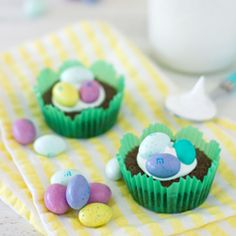 Nutella Brownie Easter Egg Nests - 4-ingredient Nutella Brownie Cups topped w/ Marshmallow Creme and M's Chocolate Eggs.