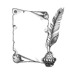Beauty feather and blank scroll quill pen inkwell vector art ...