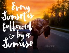 Every Sunset is followed by a Sunrise.  Engagement Photos, Couple kissing at sunset on road.   www.allypapko.com