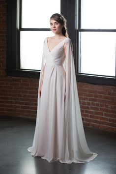 9628f90f20ce This  BariJay White 2082 metallic Bella  chiffon destination  wedding dress  showcases a side