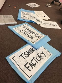 Combine old blueprints, some permanent marker and leftover paper to create large, impactful, budget-friendly upcycled station signs!