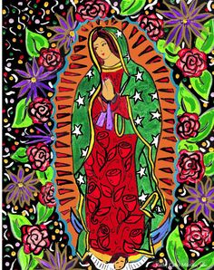 Our Lady of Guadalupe, illustrated love times three...