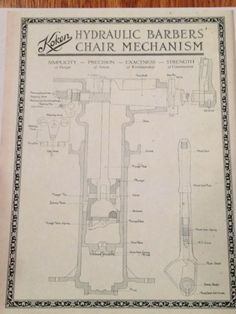 Antique KOKEN Barber Chair Hydraulic Schematic