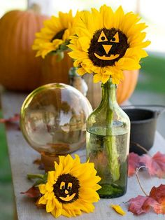 Give sunflowers a spooky makeover! More Halloween crafts: http://www.bhg.com/halloween/crafts/unique-halloween-craft-ideas/