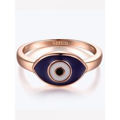 Blue Rose Gold Plating Evil Eye Ring ($14) ❤ liked on Polyvore featuring jewelry, rings, evil eye jewelry, rose gold plated jewelry, rose gold plated ring, blue jewelry and blue ring