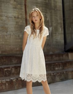 Konfirmationskjole - White and Dresses Short, Casual Dresses, Girls Party, Cloud Dancer, Homecoming Dresses, Lace Skirt, Marie, White Dress, Dresses