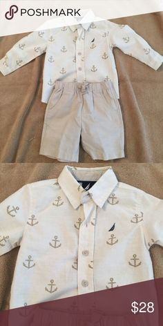 Nautica short outfit 2pc outfit shirt is long sleeve with anchors Nautica Matching Sets