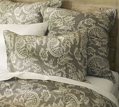 It finally came..back order for months..THE BEST WAIT EVER! Alessandra Floral Reversible Duvet Cover & Sham - Gray #potterybarn