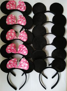 Mickey Mouse Ears Solid Black and Pink Bow Minnie Headbands for Boys and Girls Birthday Party or Celebrations (Pack of 12)