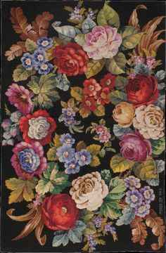 a needlepoint Rug - # 41841 Needlepoint Stitches, Needlepoint Canvases, Needlework, Embroidery Stitches, Cross Stitch Flowers, Cross Stitch Patterns, Floral Rug, Canvas Patterns, Rug Hooking