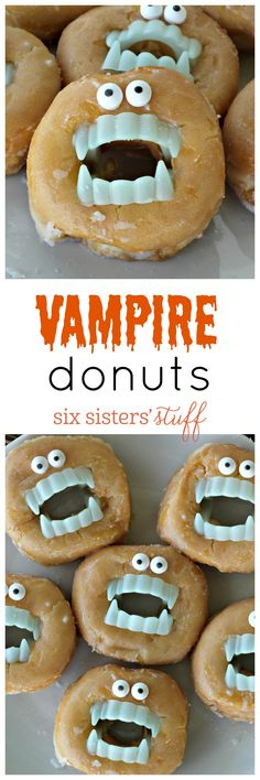 Vampire Donuts on SixSistersStuff.com - a quick and easy Halloween treat!