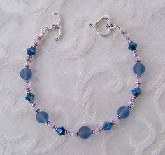 Blue Pink and Silver Vintage Swarovski Bracelet by WillowLakeJewellery on Etsy
