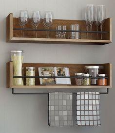 Rustic Kitchen Floating Shelves