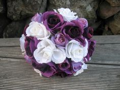 SILK Rose Bouquet Purple with White. by Keepsakebouquets on Etsy Flax Flowers, Silk Roses, Rose Bouquet, Bouquets, Wedding Flowers, Purple, Unique Jewelry, Handmade Gifts, Plants