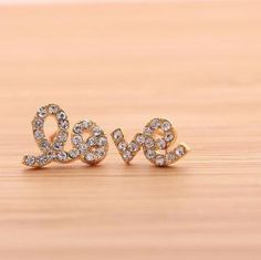 LOVE with swarovski crystals stud earrings in gold by bythecoco on Zibbet--