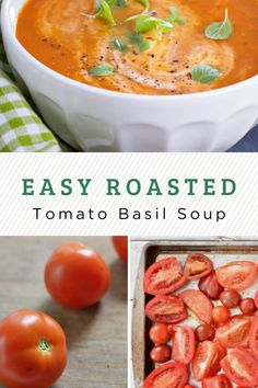 This is one of the easiest, freshest tomato soup recipes you'll find. Almost all of the time required is simply oven or simmering time…totally hands off. Let all those yummy fresh veggies do the work of blending into a delicious roasted tomato basil soup! Fresh Tomato Soup, Roasted Tomato Basil Soup, Tomato Soup Recipes, Easy Soup Recipes, Roasted Tomatoes, Homemade Pesto, Homemade Soup, Best Vegetarian Recipes, Healthy Recipes