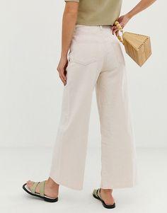ASOS DESIGN premium wide leg jeans in bone white at ASOS. Asos, Mode Online, Models, White Denim, Wide Leg Jeans, Fashion Online, Banana, Shopping, Clothes