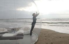 Amazing Bubble tent -fully portable-and completely transparent for the frisky amongst us :-)