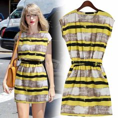 Women's simple round neck Slim England hit color striped dress, you will like it