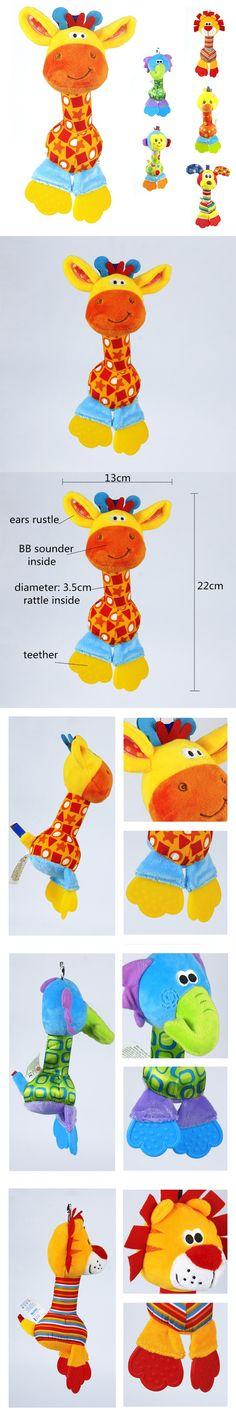 d6e90c506dac Soft Baby Toy 22cm Cartoon Animal Teether Rattle Squeaker BB Sounder Early Educational  Doll Elephant Giraffe Lion Monkey Dog
