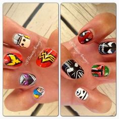 Nail Trends: Pop Art Nails, From Andy Warhol to Comic Books | Check out this collection of comic character, 1960's pop art, and Roy Lichtenstein nails! Spiderman, Wonder Woman, Justice League, Star Wars, Batman, Thor nails | Nailpro Magazine