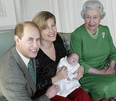 Queen Elizabeth II with her son Prince Edward, her daughter-in-law Sophie of Wessex and her granddaughter Lady Louise.