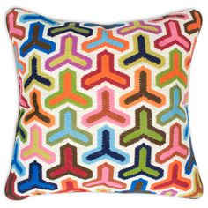 Bargello pillows, hand embroidered using long stitches to form elaborate geometric patterns. A little pricey though :-) from: jonathanadler.com