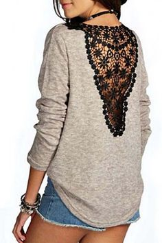 Stylish Round Collar Lace Splicing Long Sleeve T-Shirt For Women - New In Tops Diy Clothing, Sewing Clothes, Diy Fashion, Fashion Outfits, Womens Fashion, Sweatshirt Refashion, Techniques Couture, Sammy Dress, Mode Style