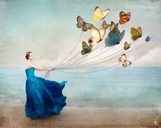 """""""Wonderland"""" Picture by Christian Schloe posters, art prints, canvas prints, greeting cards or gallery prints. Find more Picture art prints and posters in the ARTFLAKES shop. Illustrations, Illustration Art, Digital Painter, Digital Art, Butterfly Art, Butterfly Balloons, Butterfly Images, Dragonfly Art, Butterfly Painting"""