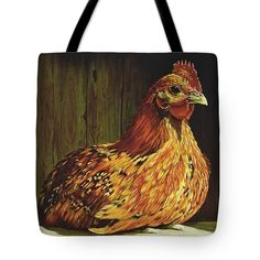 """Setting Hen"" tote bags for sale! Your choice of background colors!"
