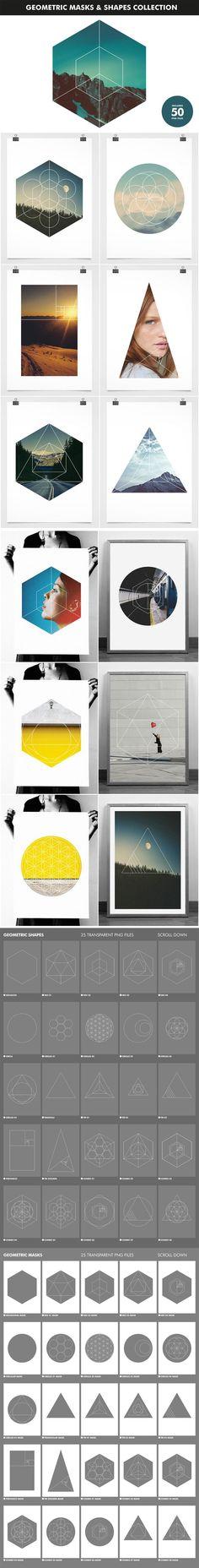 máscaras geométricas & coleção formatos Geometric Masks and Shapes Collection: