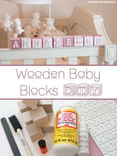 DIY your photo charms, compatible with Pandora bracelets. Make your gifts special. Wooden Baby Blocks DIY - Baby Name Blocks - Mod Podge Diy Nursery Decor, Baby Nursery Diy, Nursery Ideas, Nursery Crafts, Kid Decor, Bedroom Ideas, Baby Diy Projects, Baby Crafts, Diy Baby Gifts