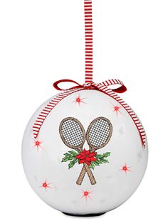 """New for Holiday 2015 at CuteTennisStuff.com! 4"""" globe ornament can be switched on to twinkle or off to shine.  Replaceable battery allows this ornament to twinkle on for years to come.  Only available at CuteTennisStuff.com.  Use promo code: PIN20 before 11/15/15 and save 20%!"""